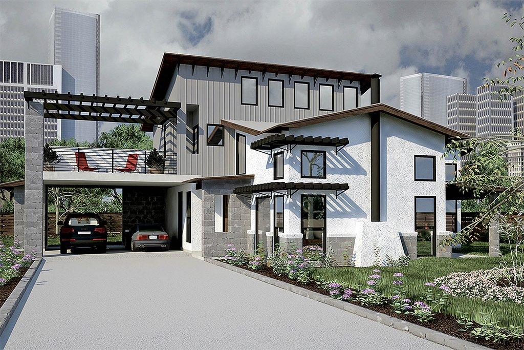 Modern Exterior Front Elevation Plan 472 7