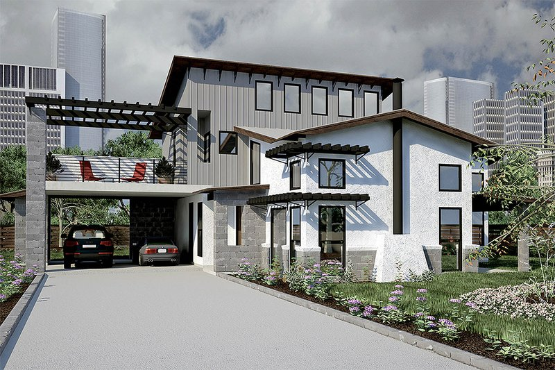 Modern Exterior - Front Elevation Plan #472-7 - Houseplans.com