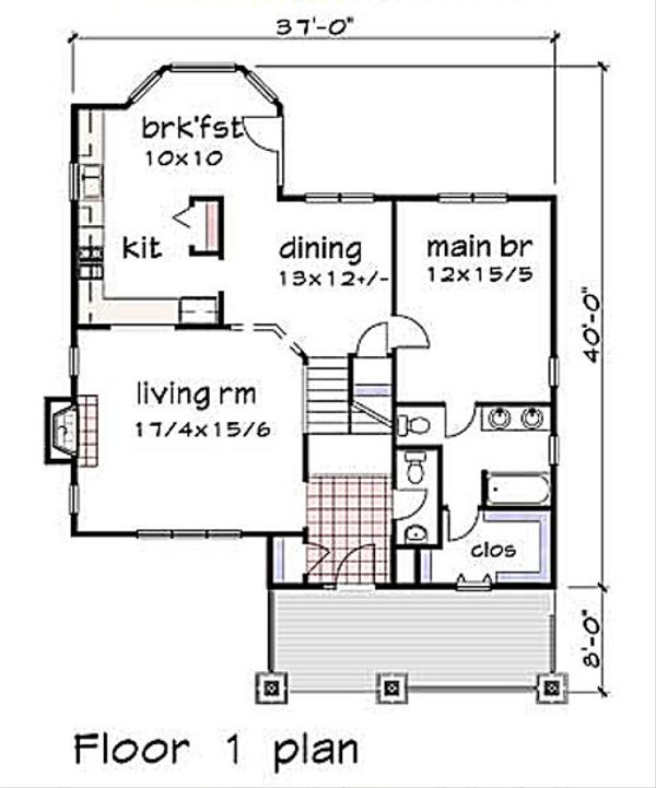Cottage Floor Plan - Main Floor Plan Plan #79-230