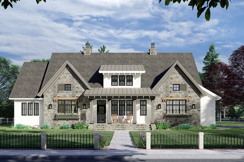Architectural House Design - Farmhouse Exterior - Front Elevation Plan #51-1163