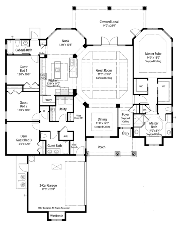 Country Floor Plan - Main Floor Plan Plan #938-75