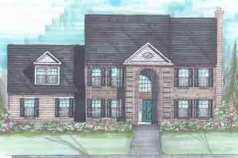 European Style House Plan - 4 Beds 2.5 Baths 2436 Sq/Ft Plan #136-115 Exterior - Front Elevation