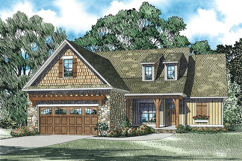 Craftsman Style House Plan - 3 Beds 2 Baths 1591 Sq/Ft Plan #17-2463 Exterior - Front Elevation