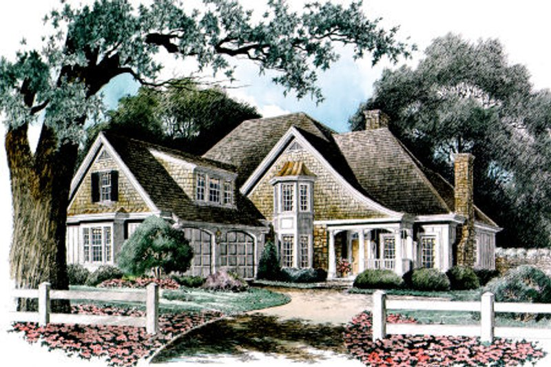 European Style House Plan - 4 Beds 3.5 Baths 2999 Sq/Ft Plan #429-22 Exterior - Front Elevation