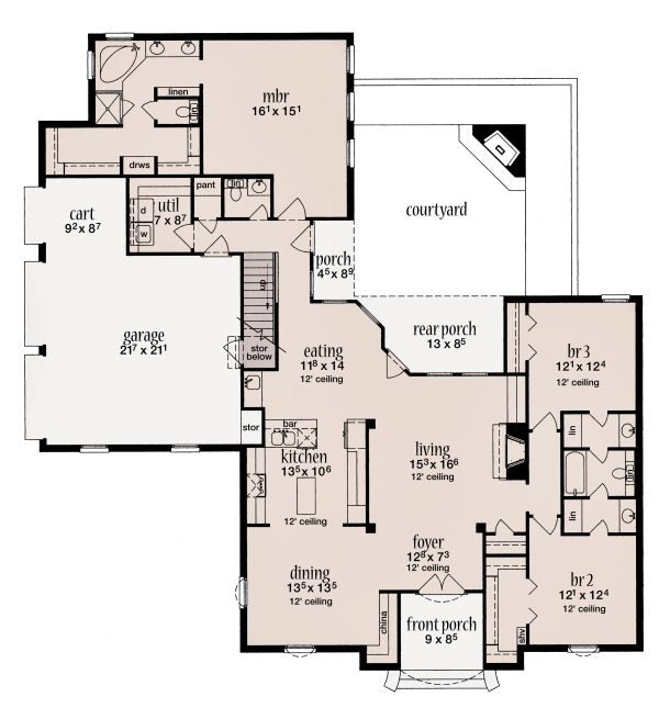European Floor Plan - Main Floor Plan Plan #36-484