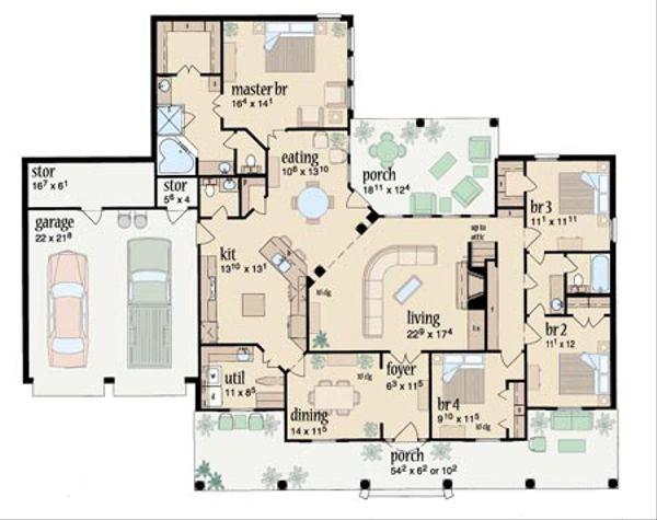 Southern Floor Plan - Main Floor Plan Plan #36-196