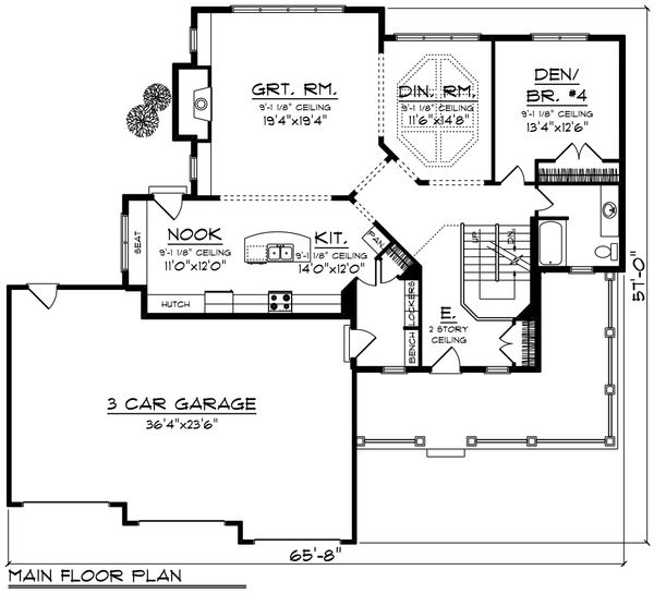 Southern Floor Plan - Main Floor Plan Plan #70-1230