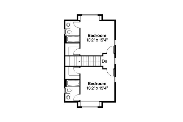 Traditional Floor Plan - Upper Floor Plan Plan #124-1041