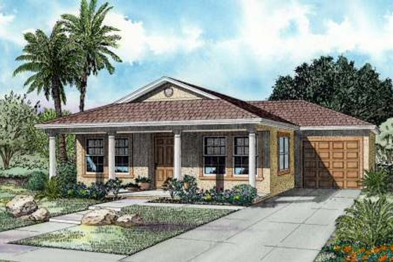 Mediterranean Exterior - Front Elevation Plan #420-103