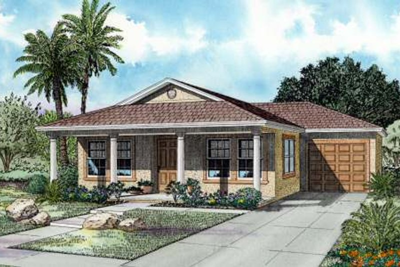 Mediterranean Style House Plan - 3 Beds 2 Baths 1250 Sq/Ft Plan #420-103 Exterior - Front Elevation