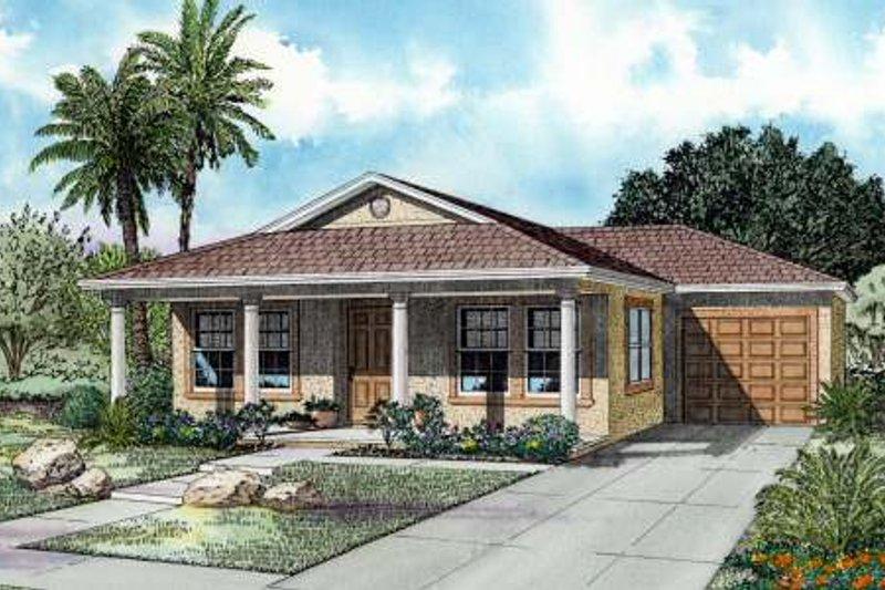 Mediterranean Style House Plan - 3 Beds 2 Baths 1250 Sq/Ft Plan #420-103