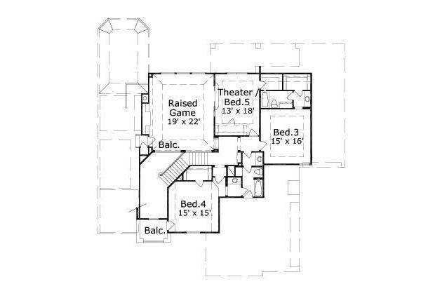 European Floor Plan - Upper Floor Plan Plan #411-675