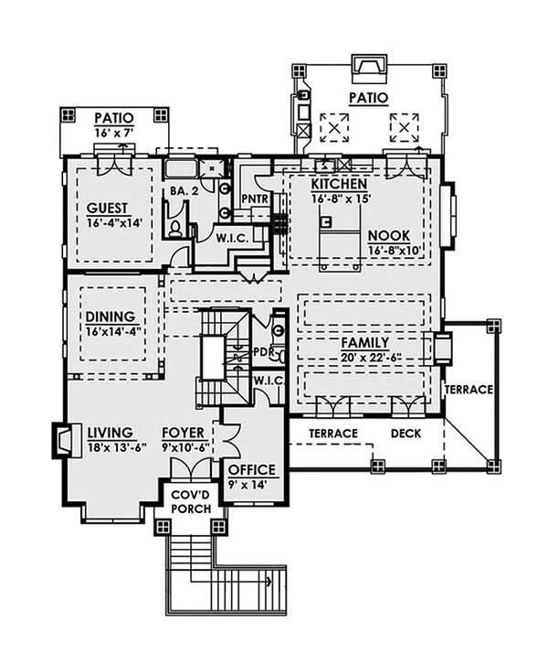 Contemporary Floor Plan - Main Floor Plan Plan #1066-36
