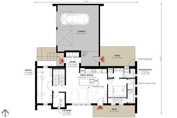 Cottage Style House Plan - 2 Beds 2 Baths 1280 Sq/Ft Plan #933-9 Floor Plan - Main Floor Plan