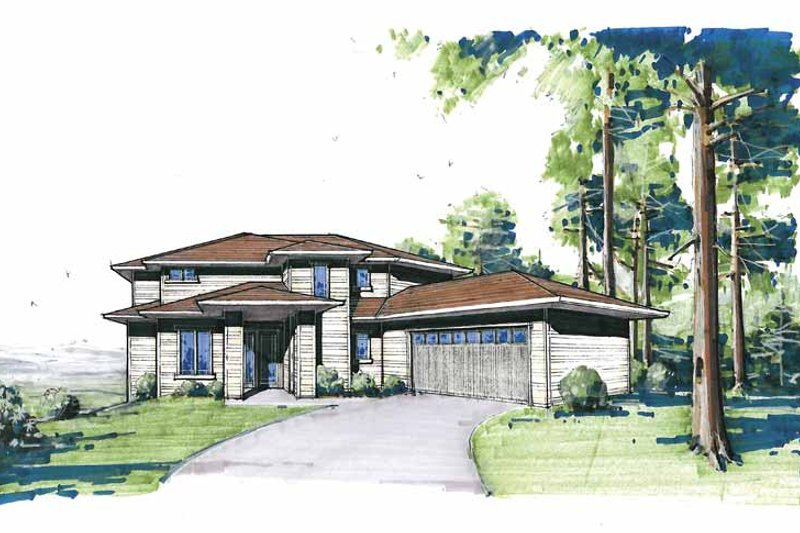 Contemporary Exterior - Front Elevation Plan #509-84 - Houseplans.com