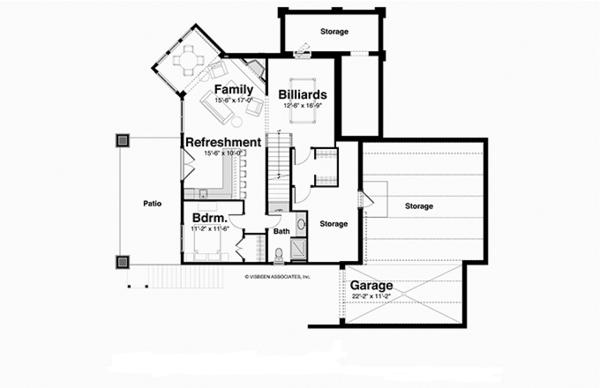 Country Floor Plan - Lower Floor Plan Plan #928-250