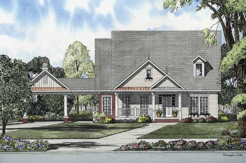 Colonial Exterior - Front Elevation Plan #17-2870