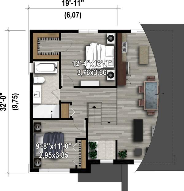 Contemporary Floor Plan - Upper Floor Plan #25-4894