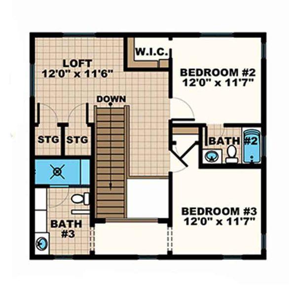 House Plan Design - European Floor Plan - Upper Floor Plan #1017-167