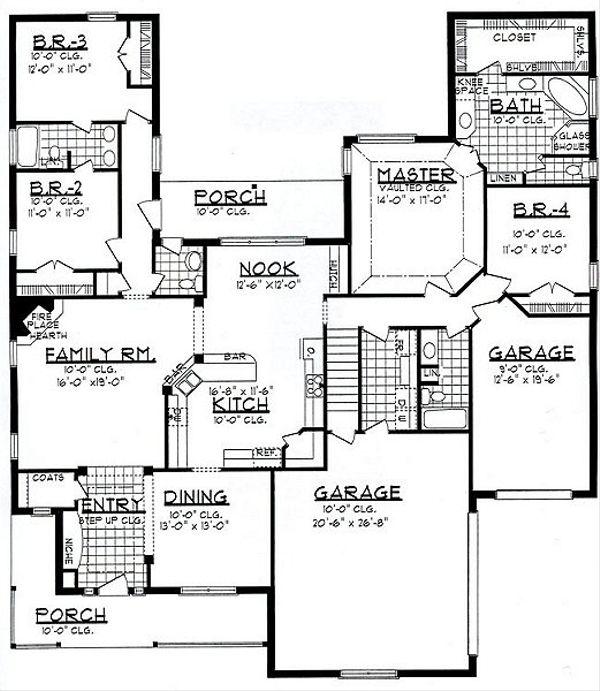 Traditional Floor Plan - Main Floor Plan Plan #62-147