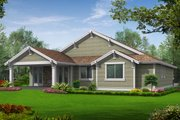 Craftsman Style House Plan - 2 Beds 2 Baths 1502 Sq/Ft Plan #132-196 Exterior - Rear Elevation