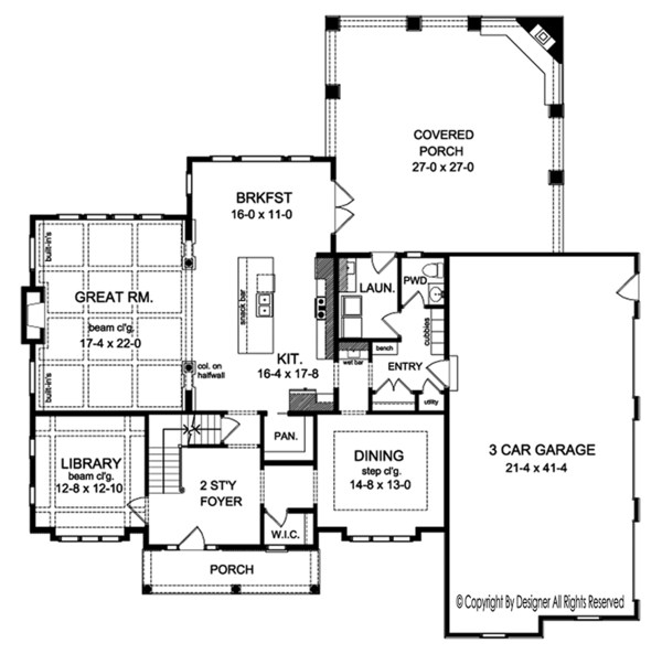 Colonial Floor Plan - Main Floor Plan Plan #1010-176