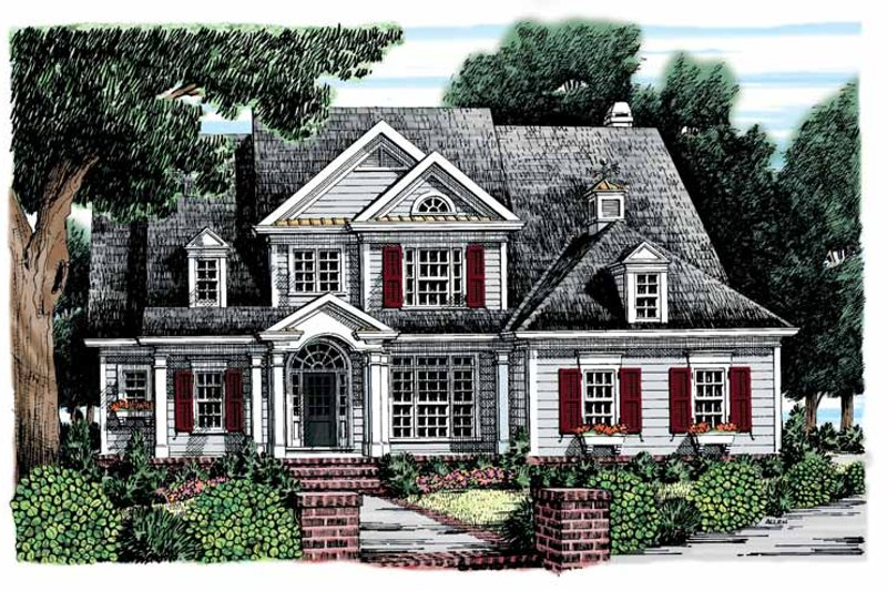Architectural House Design - Colonial Exterior - Front Elevation Plan #927-852