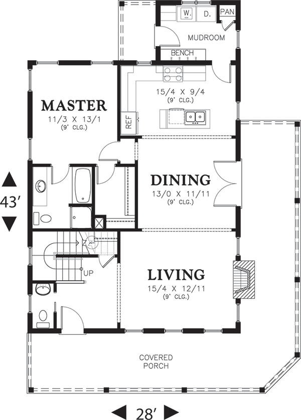 Dream House Plan - Cottage Floor Plan - Main Floor Plan #48-572