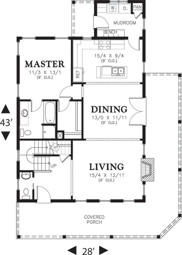 House Plan Design - Cottage Floor Plan - Main Floor Plan #48-572