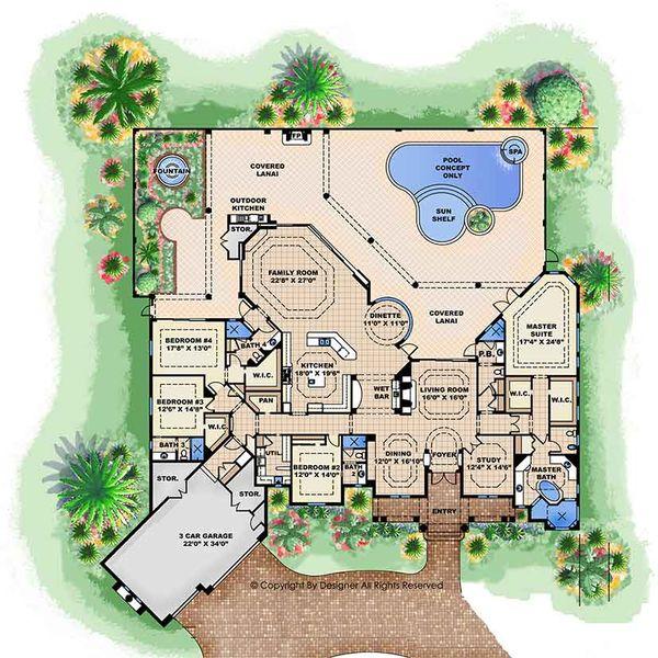 Mediterranean Floor Plan - Main Floor Plan Plan #1017-161