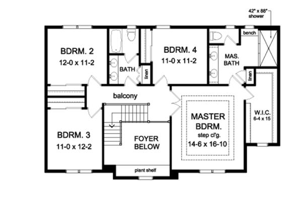 Colonial Floor Plan - Upper Floor Plan Plan #1010-95