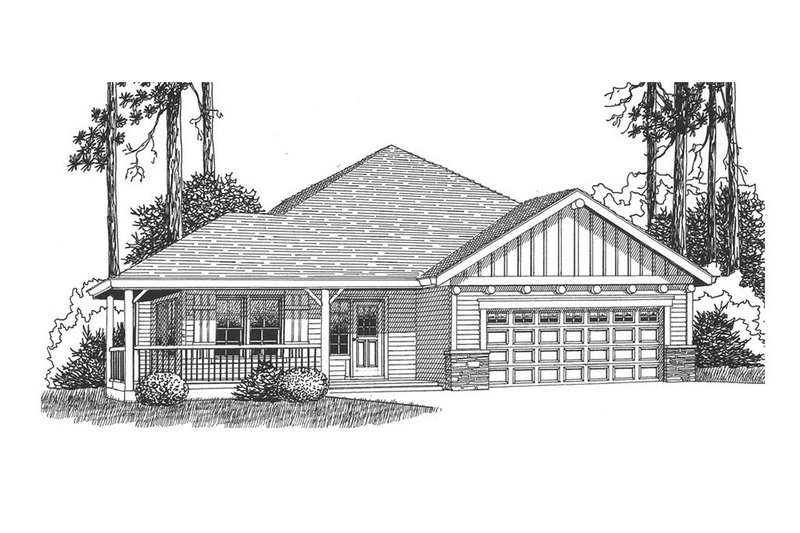 Craftsman Style House Plan - 3 Beds 2 Baths 1705 Sq/Ft Plan #53-523 Exterior - Front Elevation