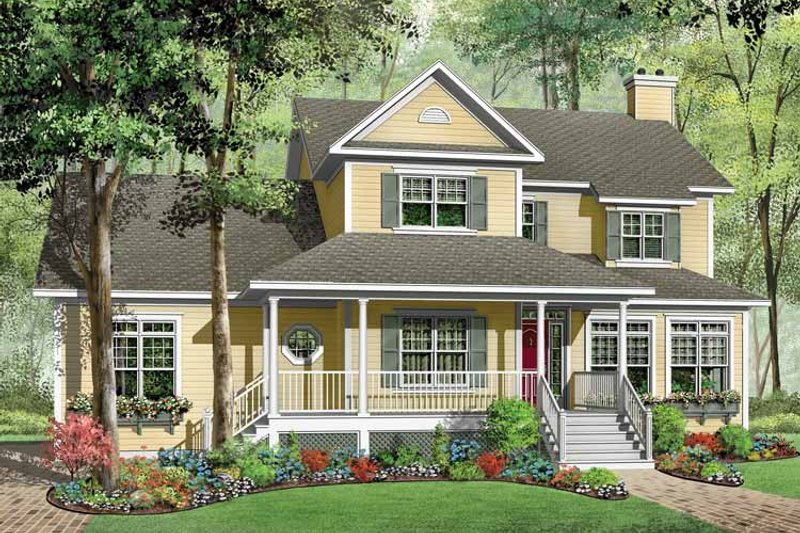 Home Plan - Country Exterior - Front Elevation Plan #23-2349