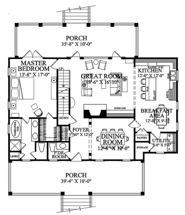 Colonial Floor Plan - Main Floor Plan Plan #137-373