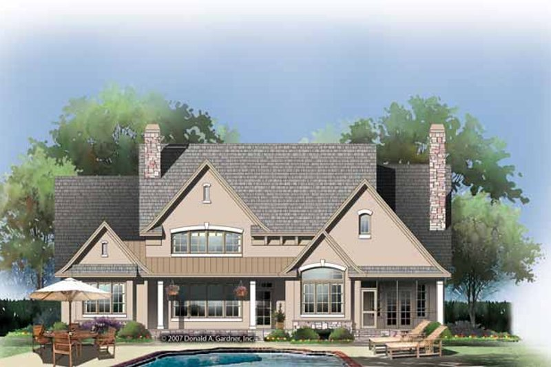European Exterior - Rear Elevation Plan #929-870 - Houseplans.com