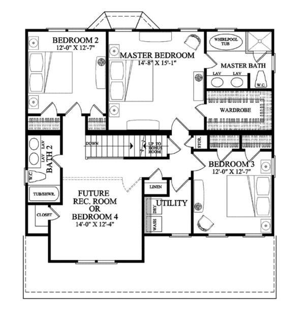 Traditional Floor Plan - Upper Floor Plan Plan #137-362