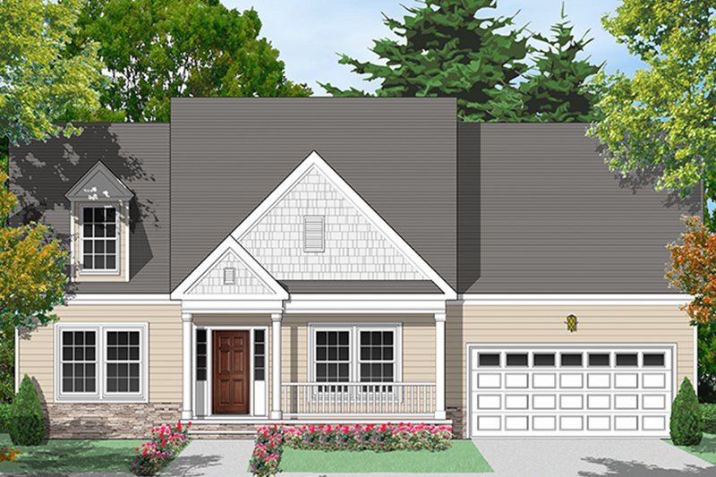 Country Exterior - Front Elevation Plan #1053-75