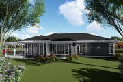 Ranch Style House Plan - 3 Beds 2.5 Baths 2899 Sq/Ft Plan #70-1427 Exterior - Rear Elevation