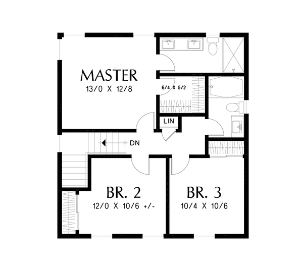 Farmhouse Floor Plan - Upper Floor Plan #48-992