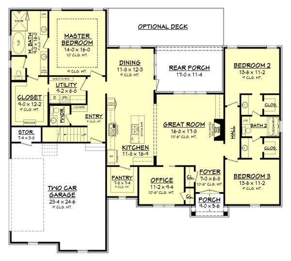 Country Style House Plan - 3 Beds 2 Baths 2239 Sq/Ft Plan #430-167 Floor Plan - Main Floor Plan