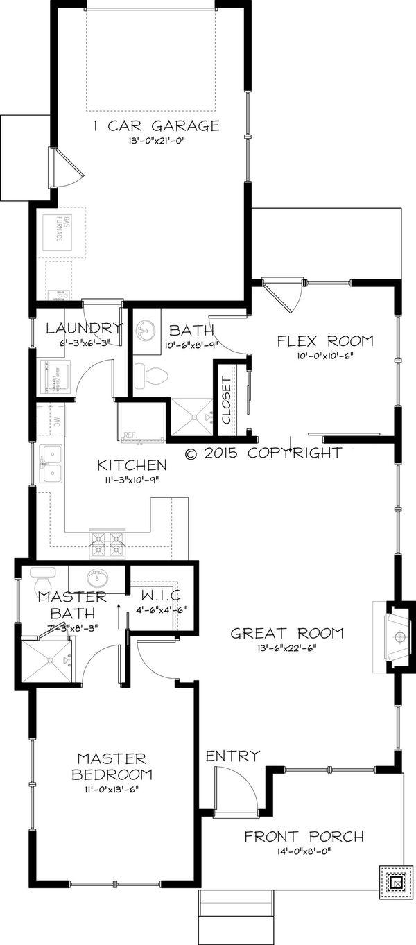 Craftsman Floor Plan - Main Floor Plan Plan #895-47
