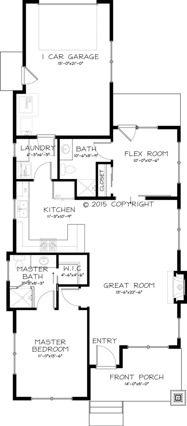 Craftsman Style House Plan - 2 Beds 2 Baths 999 Sq/Ft Plan #895-47 Floor Plan - Main Floor Plan