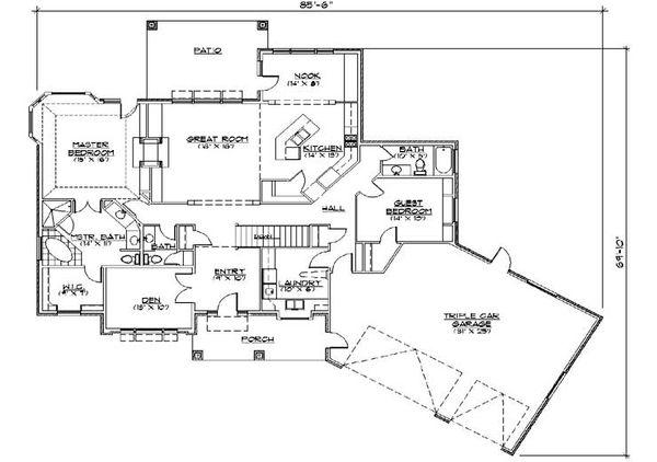 House Plan Design - European Floor Plan - Main Floor Plan #5-271