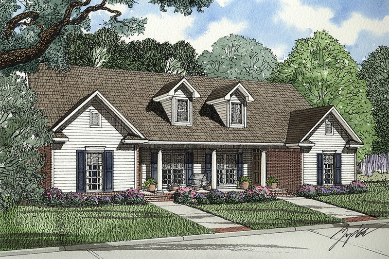 Country Style House Plan - 6 Beds 4 Baths 2688 Sq/Ft Plan #17-2562 Exterior - Front Elevation