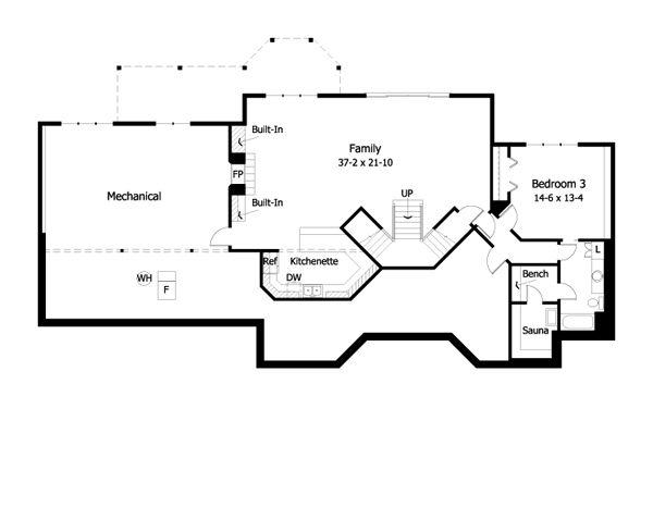 Ranch Floor Plan - Lower Floor Plan Plan #51-466