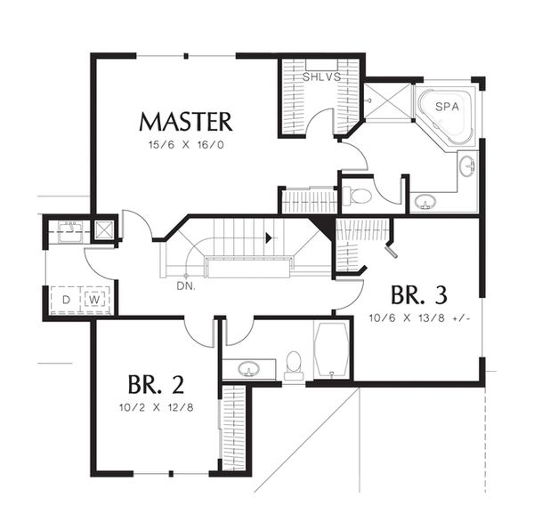 Craftsman Floor Plan - Upper Floor Plan Plan #48-520