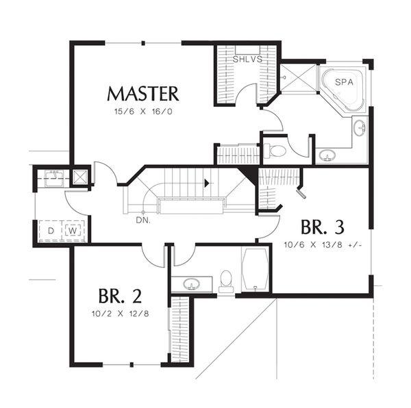 Craftsman Floor Plan - Upper Floor Plan Plan #48-520