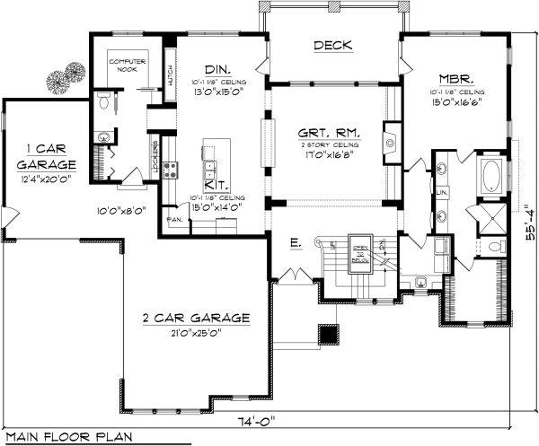 Tudor Floor Plan - Main Floor Plan Plan #70-1141