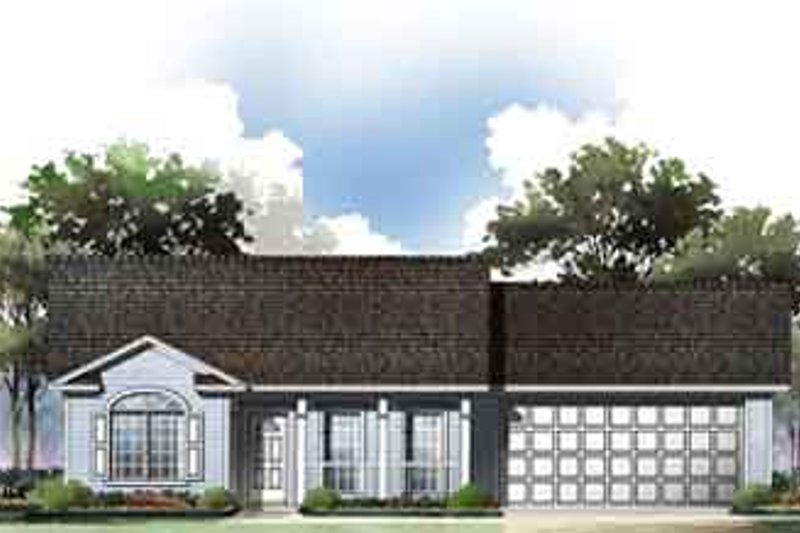 Traditional Style House Plan - 2 Beds 2 Baths 1002 Sq/Ft Plan #21-166 Exterior - Front Elevation