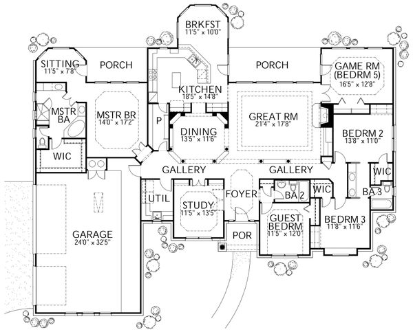 Mediterranean Floor Plan - Main Floor Plan Plan #80-122